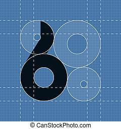 símbolo, 6, engenharia, font., redondo
