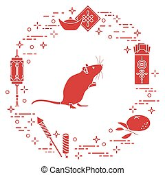 símbolo, año, nuevo, 2020, chino, rata, calendario