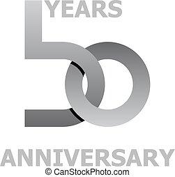 símbolo, años, aniversario,  50