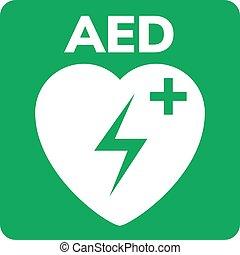símbolo, aed, desfibrilador, signo., ataque, logotipo, corazón, icon., dispositivo, ayuda, externo, primero, automatizado