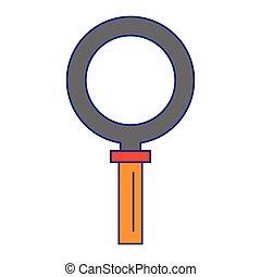 símbolo, aislado, ilustración, vidrio, vector, aumentar