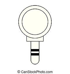 símbolo, aislado, lupa, negro, blanco, caricatura