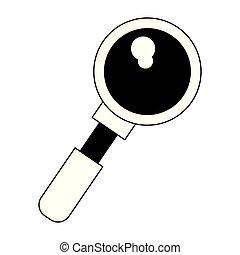 símbolo, aislado, vidrio, negro, blanco, aumentar