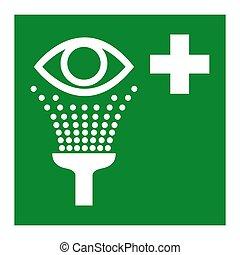 símbolo, aislar, vector, lavado, plano de fondo, estación, blanco, ilustración, ojo, eps.10