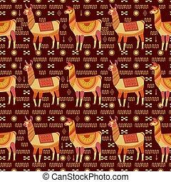 símbolo, america., seamless, oscuridad, row., llamas, indio, indios, protector, cósmico, vector, plano de fondo, nacional, ornamento, symbols., orden, abundance., patrón, borgoña