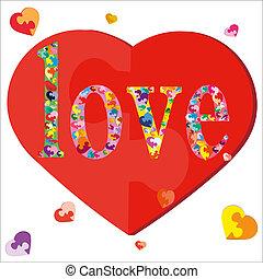 Símbolo, Amor,  puzzle-hearts