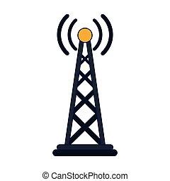 símbolo, antena, líneas, telecomunicación, azul