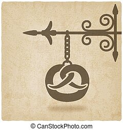 símbolo, antigas, panificadora, fundo, pretzel