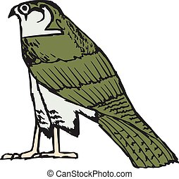 símbolo, antiguo, halcón, egipcio