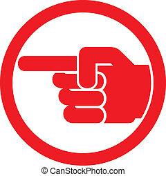 símbolo, apontar dedo