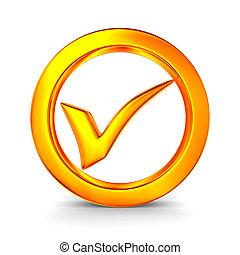 símbolo, aprobar, blanco, fondo., aislado, 3d, imagen