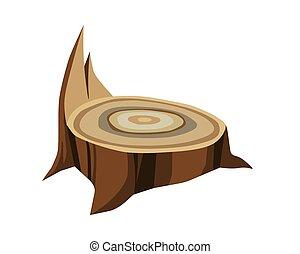 símbolo, apuntar, solo, tocón, de madera, marrón, industria