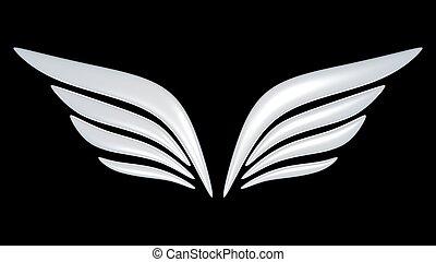 símbolo, asa 3d, pássaro