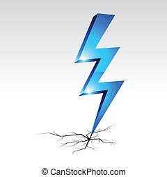 símbolo., aviso, electricidade