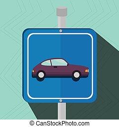 símbolo, aviso, terreno, estacionamiento