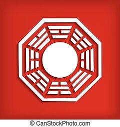 símbolo, bagua, chino, rojo
