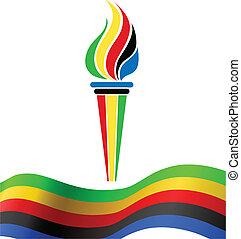 símbolo, bandeira, tocha, olímpico