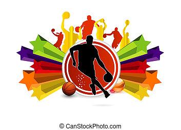 símbolo, basquetebol, desporto, colorido, estrelas