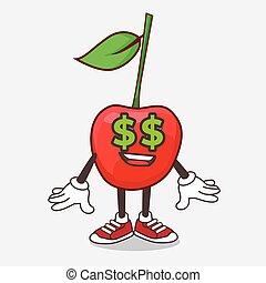 símbolo, bing, personagem, caricatura, mascote, olhos, cereja, dinheiro