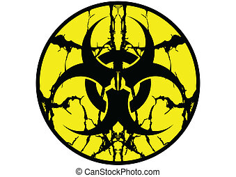 símbolo, biohazard, arriba, saliva, etiqueta