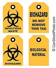 símbolo, biohazard, isolado, sinal amarelo, alerta, texto,...