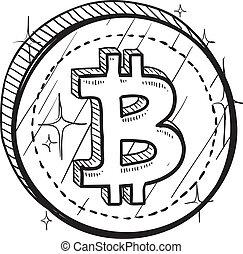 símbolo, bitcoin, bosquejo