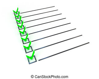 símbolo, blanco, lista, encima, cheque