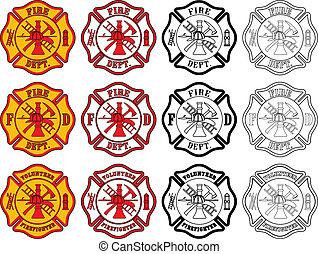 símbolo, bombeiro, crucifixos