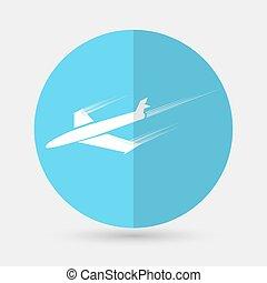 símbolo, branca, avião, fundo