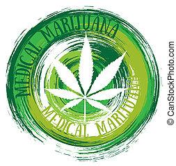 símbolo, branca, folha, médico, marijuana