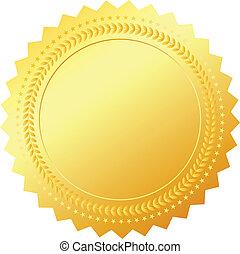 símbolo, branca, isolado, ouro, em branco
