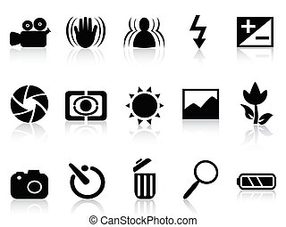 símbolo, cámara, dslr, colección