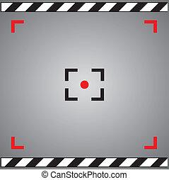 símbolo, câmera, foco