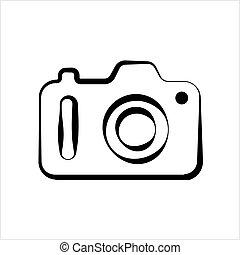 símbolo, câmera, isolado, ícone, desenho