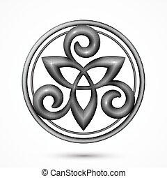 símbolo céltico, vector, piedra, triskel