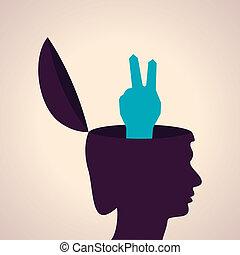 símbolo, cabeça, human, vitória
