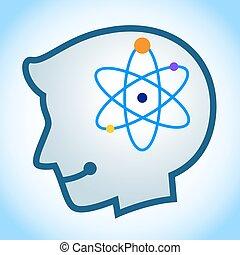 símbolo, cabeça, silueta, energia, human