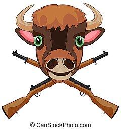 símbolo, cabeza, arma, caza, bisonte