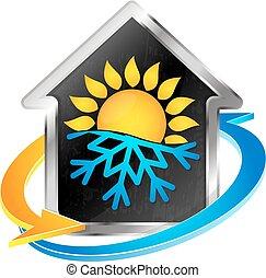 símbolo, calefacción, condicionamiento, aire