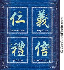 símbolo, carácter, sobre, mora, chino
