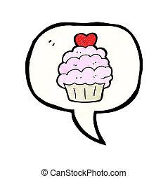símbolo, caricatura, cupcake