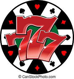símbolo, casino, afortunado