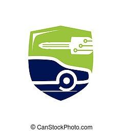 símbolo, cerrajero, vehículo
