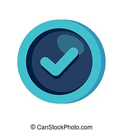 símbolo, cheque, quadro, circular