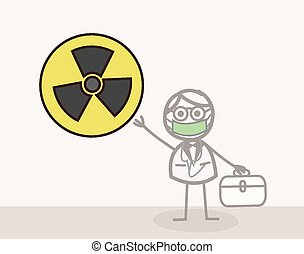 símbolo, científico, radioactivo