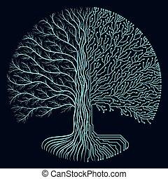 símbolo, circuito, redondo, hola-hi-tech, yggdrasil, estilo, design., cyberpunk, progreso, árbol., futurista