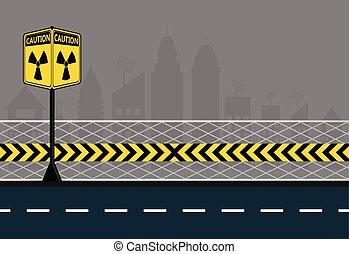 símbolo, ciudad, peligro, calles, radiación, amarillo,...