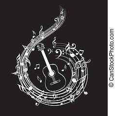 símbolo, cobrança, nota, música, fundo, ícone