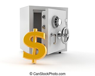 símbolo, cofre, dólar