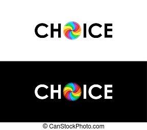 símbolo, coloridos, escolha